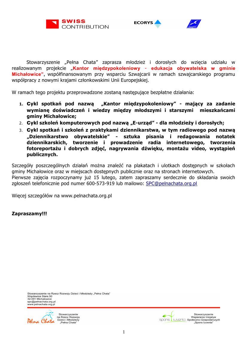 Zaproszenie Na Darmowe Warsztaty I Szkolenia W Więcławicach